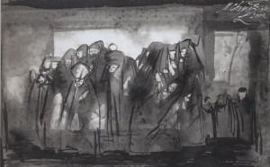 Театральная сцена. Тушь, бумага. 2004.